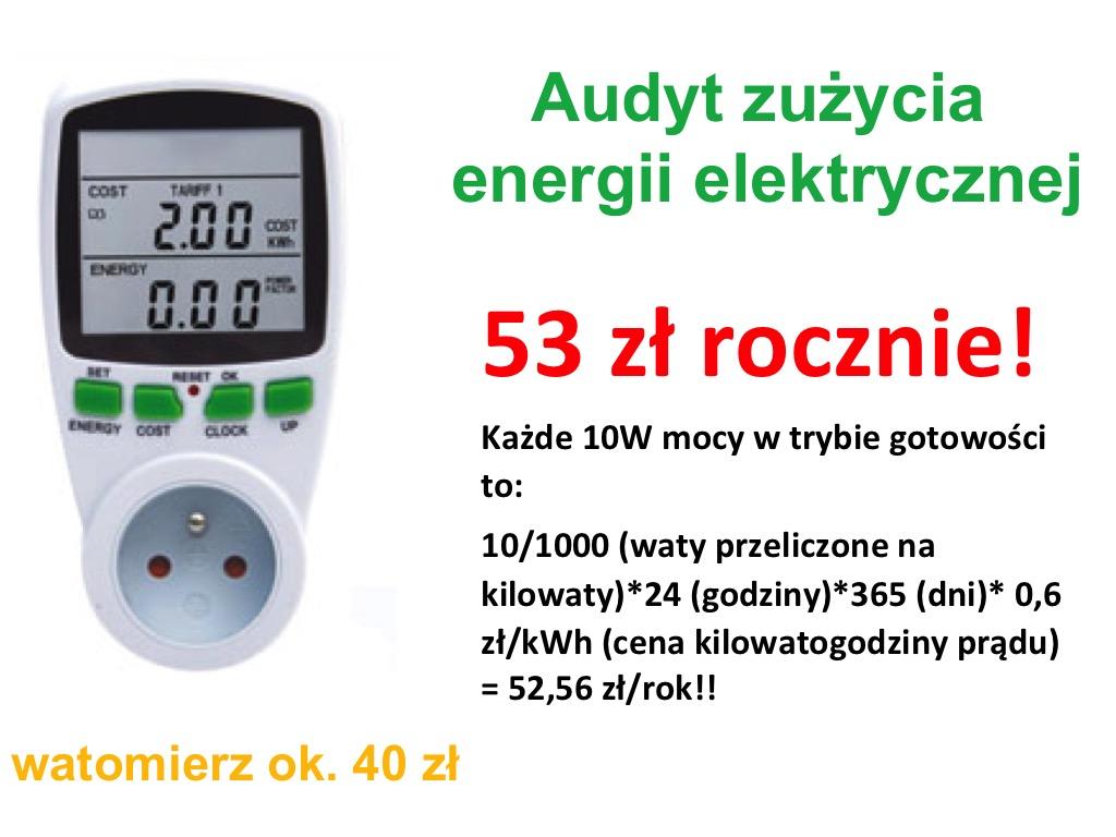 Watomierz, poziom zużycia prądu przez urządzenia w stanie gotowości, uśpienia
