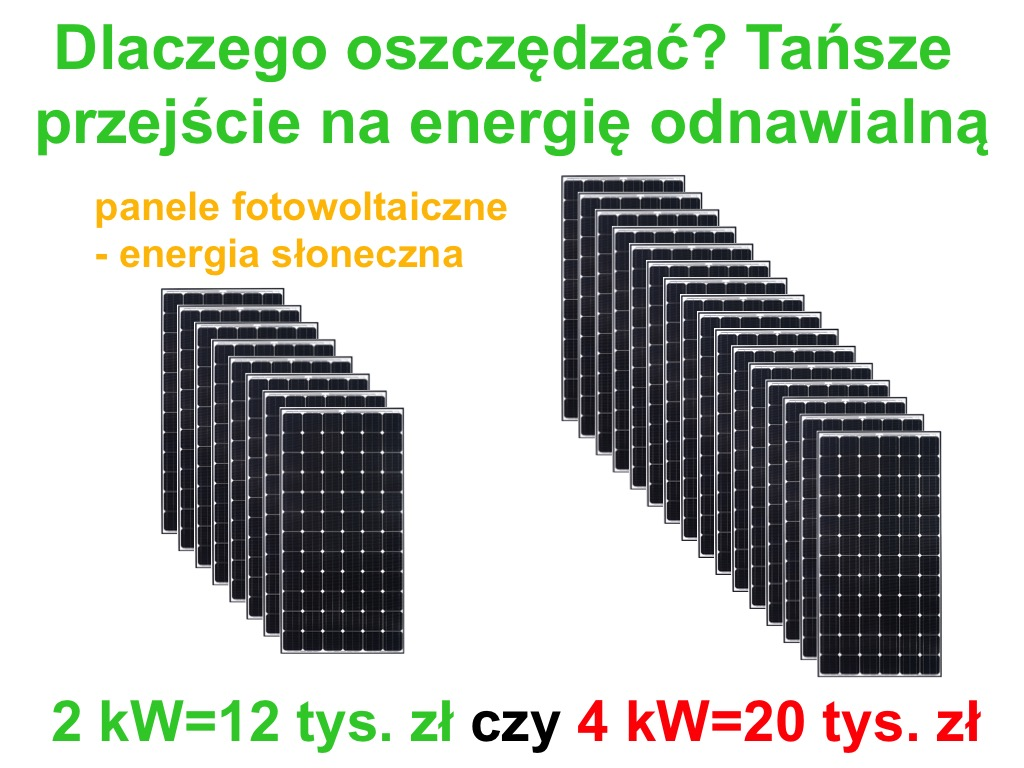 Oszczędzanie energii, podnoszenie efektywności energetycznej, instalacja fotowoltaiczna
